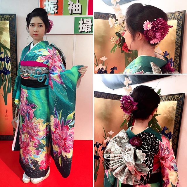 お嬢様の個性を演出できる素敵な振袖。注目されること間違いなしです!お好みにお合わせできて良かったぁ〜。と胸をなで下ろすスタッフ。#前撮り#振袖 桂由美#絵画のような振袖#振袖 髪型 日本髪風